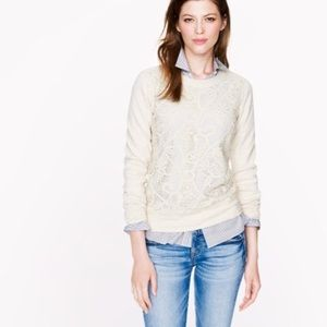 J. Crew Cream Lace Front Sweater